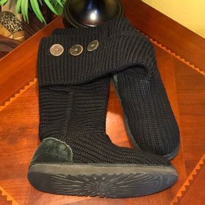 UGG Cardy Black 3 Button Knit High Boots